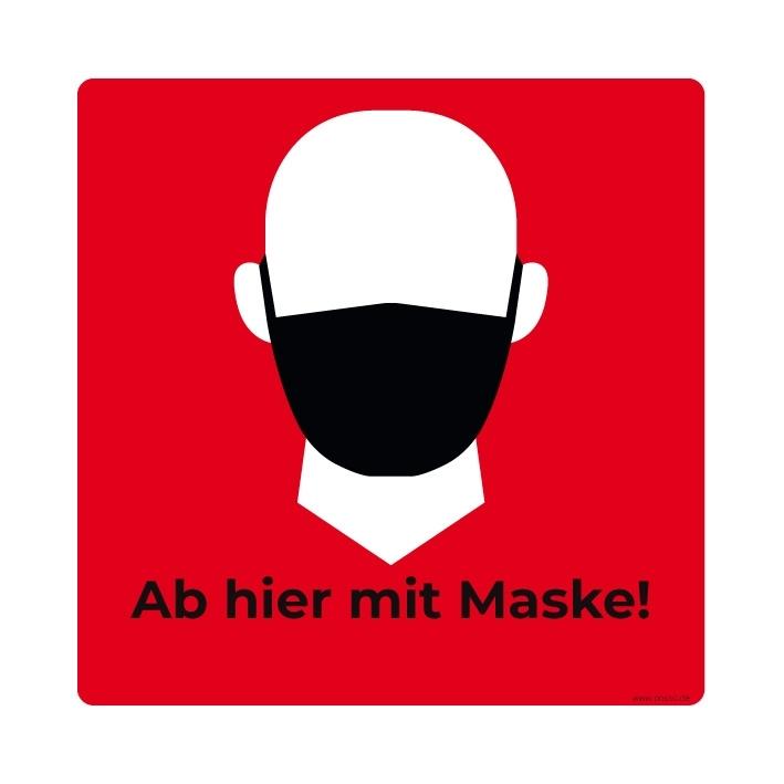 Aufkleber - Ab hier mit Maske