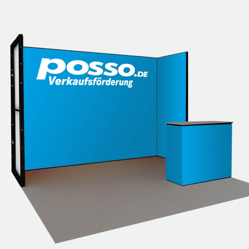 Messebau - tex.Connect Messestand 3x1m mit Theke