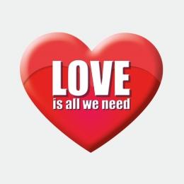 Love is all we need rot Herz Aufkleber Werbung Schaufenster Beschriftung