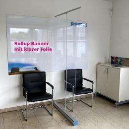 Rollup Bannerdisplay 85 cm mit transparenter Füllung, Trennwand, Hygieneschutz