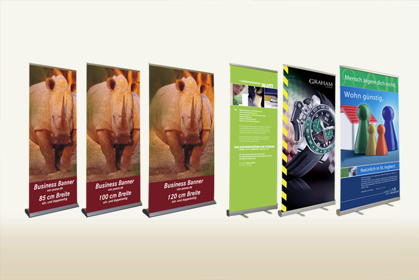 Die posso Rollup Banner - für jeden Einsatz das richtige System. Image
